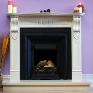 Incised Victorian fireplace