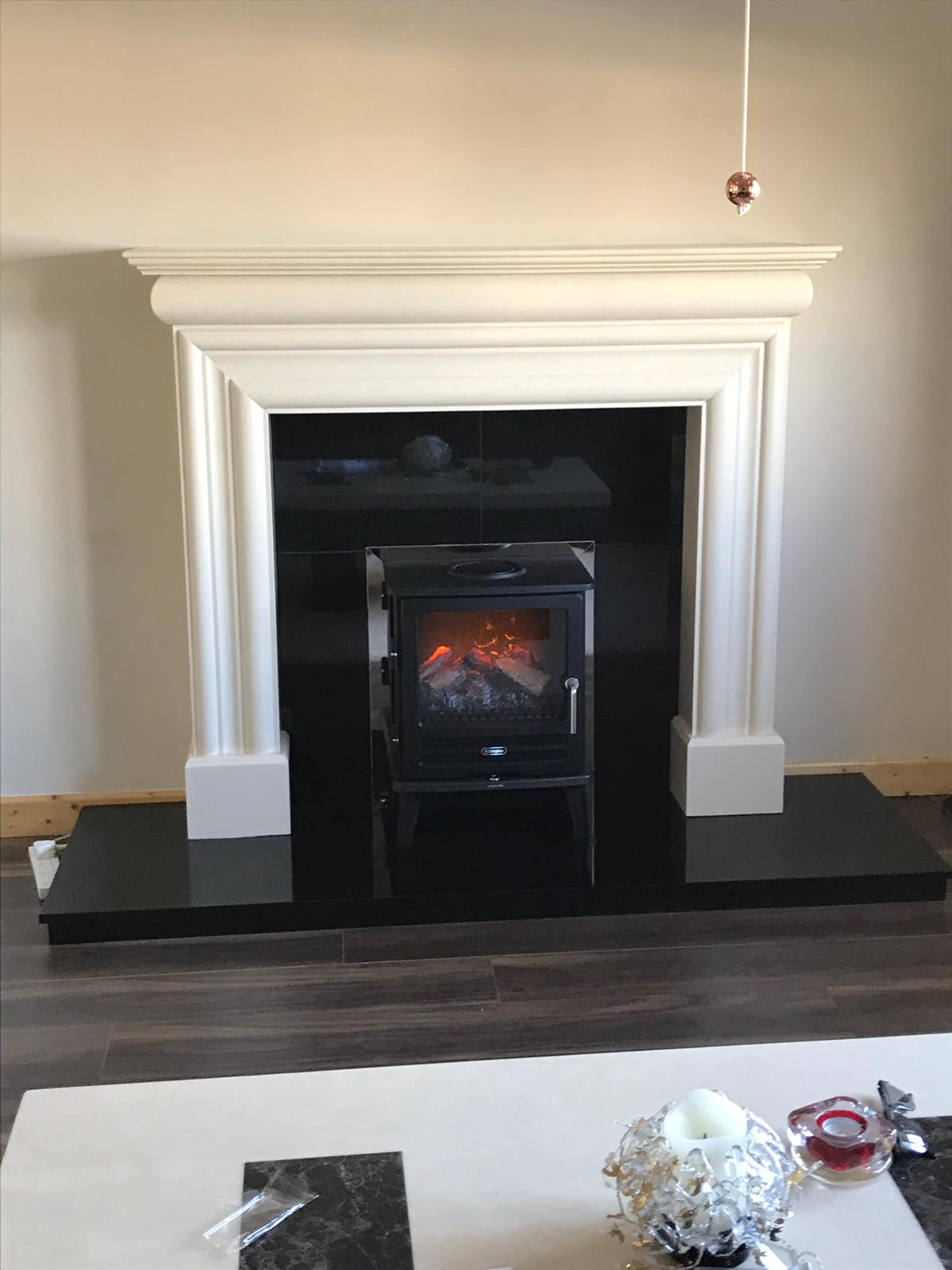 Wexford fireplace with Willowbrook electric stove