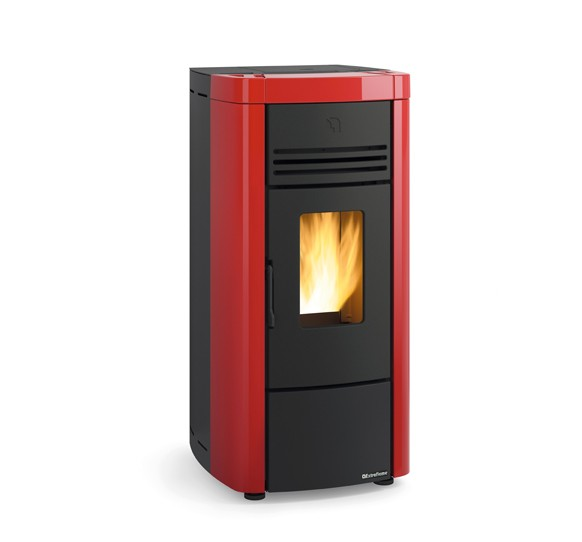 angela pellet stove red