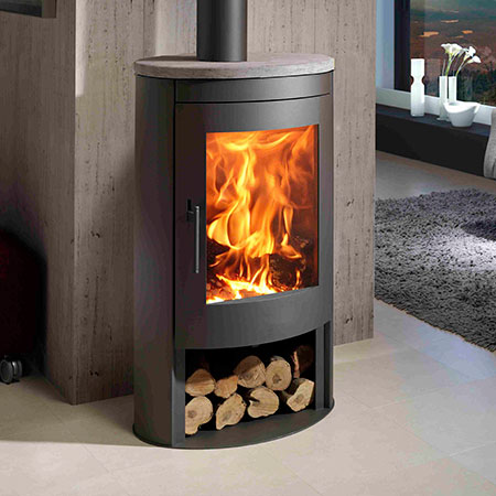 panadero oval stone ecodesign wood burning stove